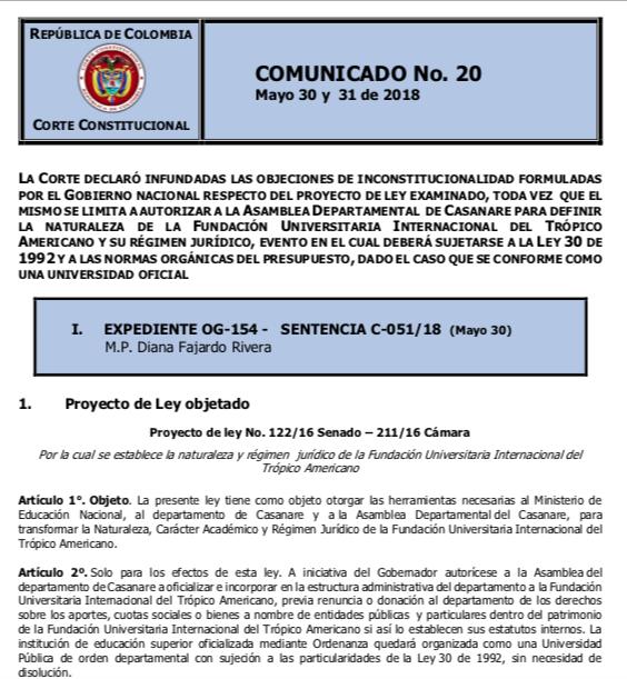 Pronunciamiento de la Corte Constitucional.