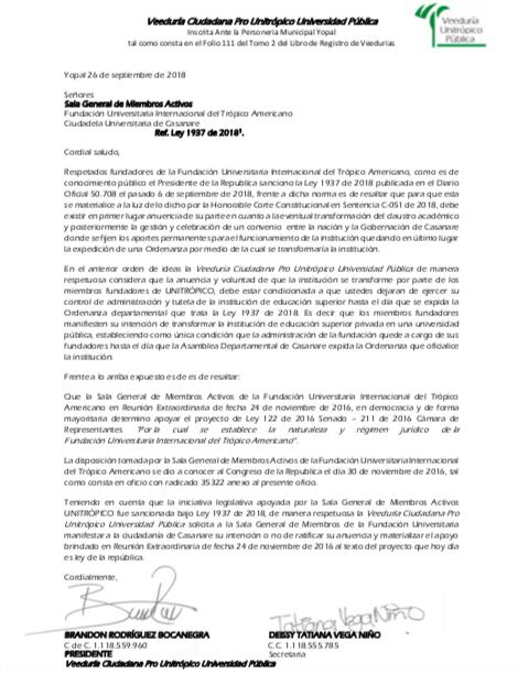 Carta a Sala General de Miembros Activos de Unitrópico.