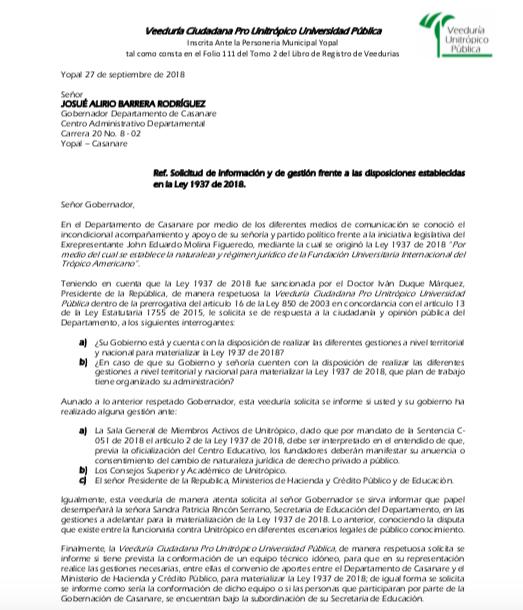 Carta al Gobernador Alirio Barrera.