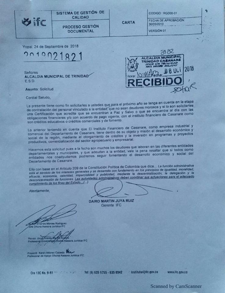 Esta fue la carta que el IFC envió a la Alcaldía de Trinidad.