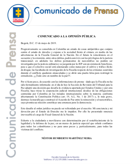 Comunicado de Prensa.
