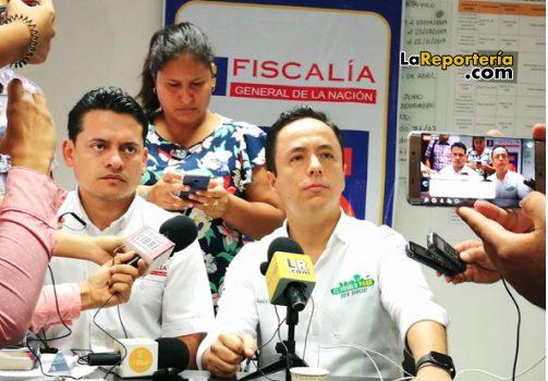 Director de Fiscalías Jhon Fredy Encinales y Alcalde de Yopal Leonardo Puentes.