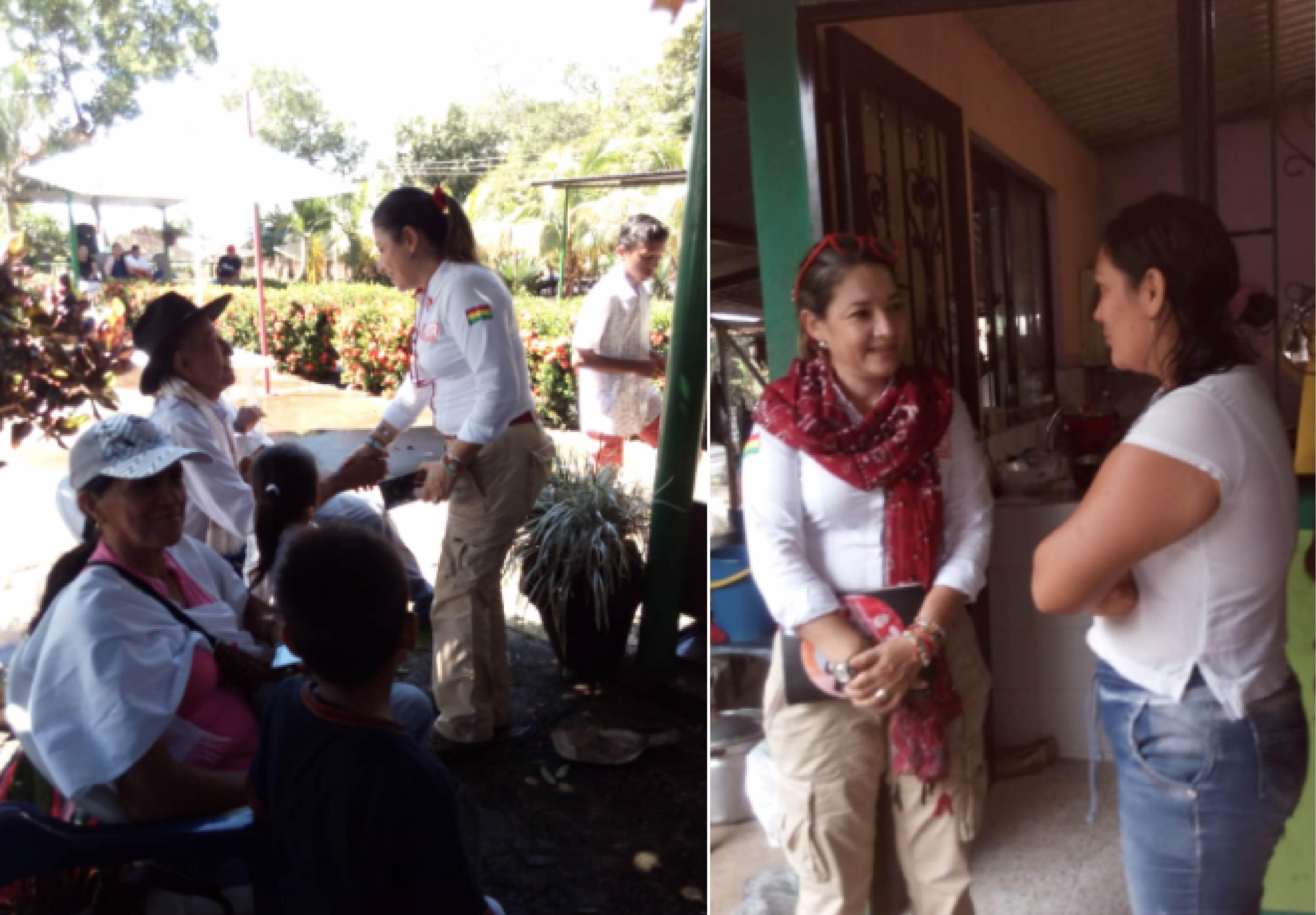 Fernanda  Salcedo habló con personas del sector rural.