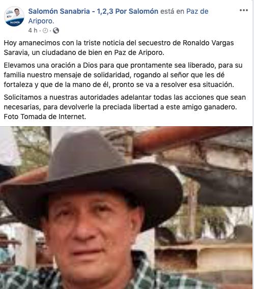 Reacción del candidato a la Gobernación de Casanare Salomón Sanabria.