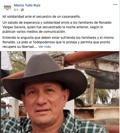 Reacción del candidato a la Gobernación de Casanare Marco Tulio Ruiz.
